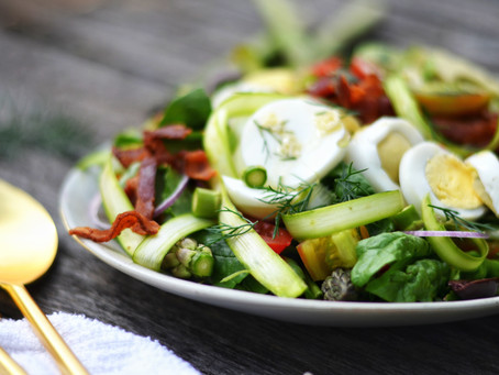 Raw Shaved Asparagus Dill Salad with Lemon -Garlic Vinaigrette