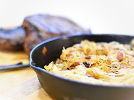 Hunger Moon Recipe: Sauerkraut Bacon Cabbage Onion Hotplate