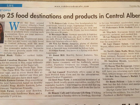Top 25 food destinations and products in Central Alberta.