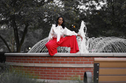 bending red palazzo and creme top