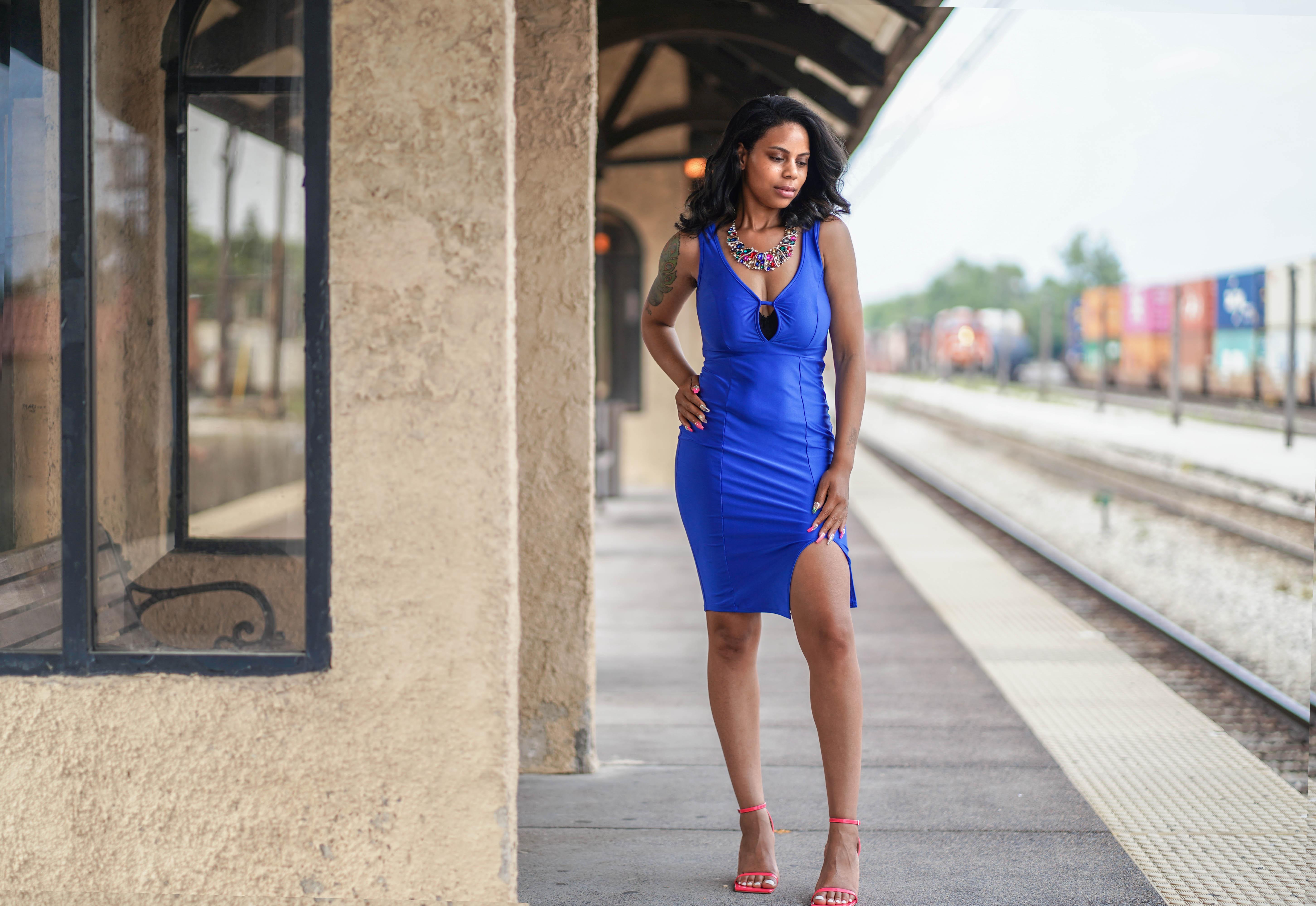 blue dress front