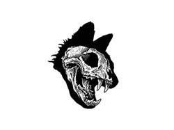 Cat Skull Tattoo Flash
