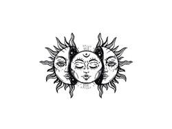 Sun and Moon Tattoo Flash