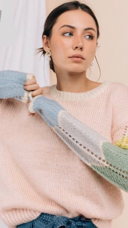 colorblock pointelle sweater