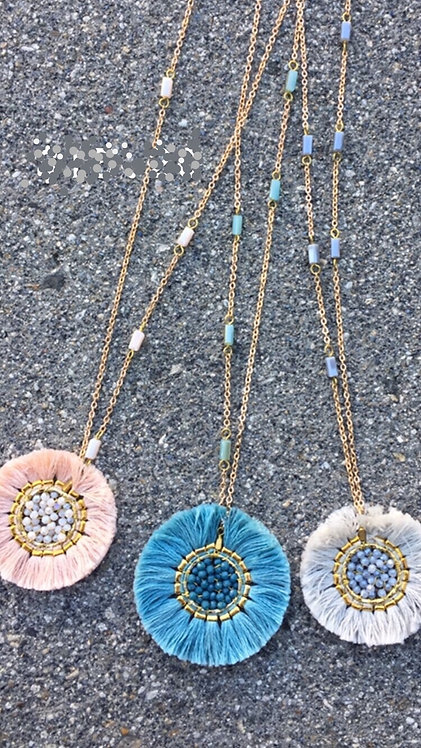 seed bead fray long necklace