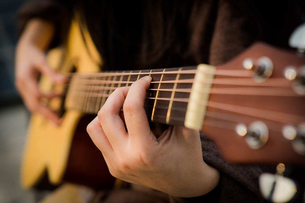Folk guitar being fingerpicked.
