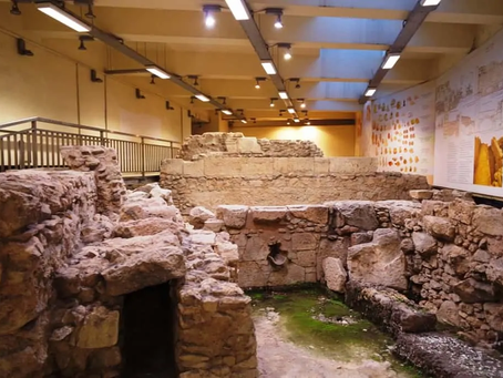 An archaeological site inside a metro station in Athens