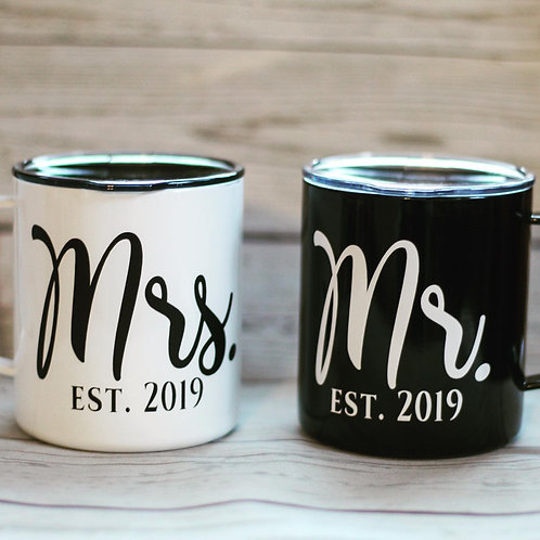 Mr. & Mrs. Stainless Steel Coffee Mugs