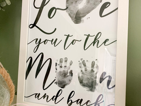 Love You to the Moon and Back Baby Foot and Hand Print DIY Craft Project - Keepsake