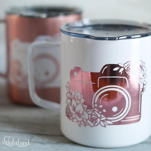 Rose Gold Photographer Stainless Steel Coffee Mug -Thank you gift