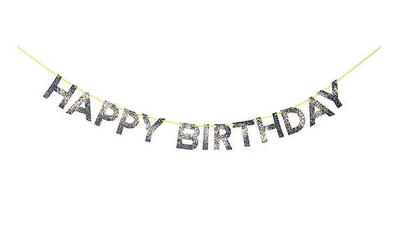 Happy Birthday Silver Garland