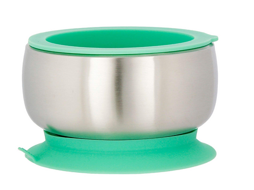 Green - Avanchy Stainless Steel Suction Baby Bowl + Air Tight Lid