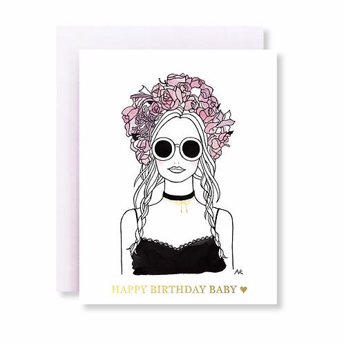 Flower Crown Girl Birthday Card w. Gold Foil