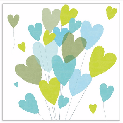 Bundle of hearts - napkin - Blue