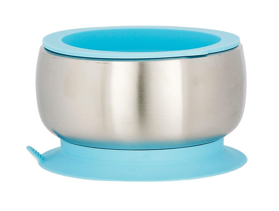 Blue - Avanchy Stainless Steel Suction Baby Bowl + Air Tight Lid