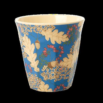 Medium Melamine Cup - Petrol - Autumn and Acorns Print