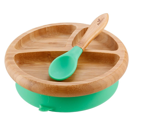Green - Avanchy Bamboo Suction Baby Plate + Spoon