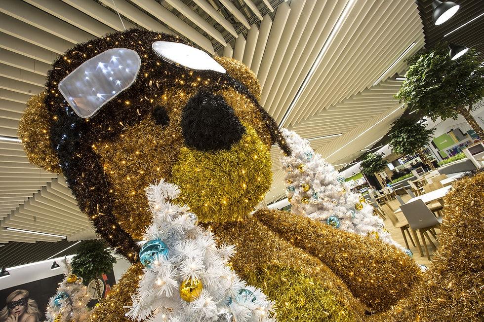 LED Illuminated Giant Teddy Bear with Flight Goggles
