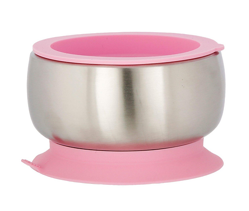 Pink - Avanchy Stainless Steel Suction Baby Bowl + Air Tight Lid