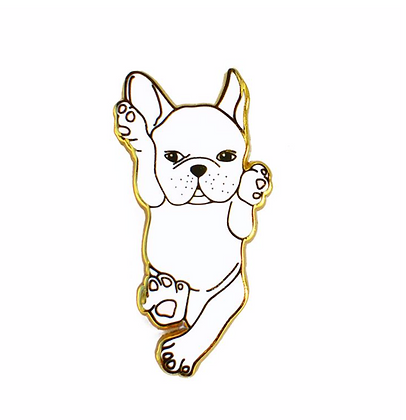 French Bulldog White Enamel Pin
