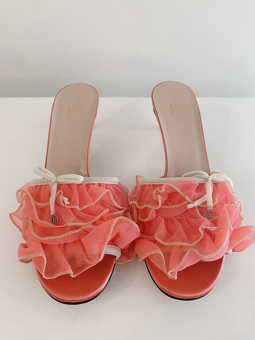 AUTHENTIC GUCCI TULLE LACE RUFFLE KITTEN HEELS SLIDES