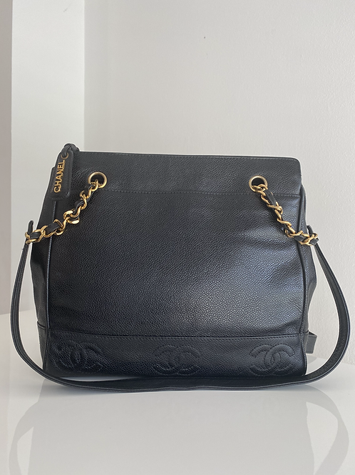 AUTHENTIC CHANEL VINTAGE TRIPPLE C CAVIAR TOTE IN BLACK WITH GOLD HARDWARE