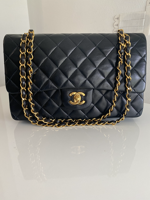 AUTHENTIC CHANEL VINTAGE DOUBLE FLAP IN BLACK WITH GOLD HARDWARE