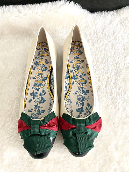 AUTHENTIC GUCCI BALLERINA WITH WEB BOW