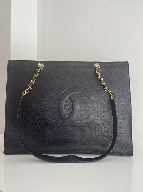 AUTHENTIC CHANEL CAVIAR EXTRA LARGE SHOPPING TOTE IN BLACK GOLD HARDWARE
