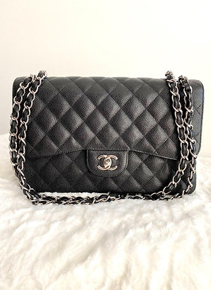 AUTHENTIC CHANEL GRAINED LARGE DOUBLE FLAP