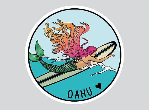Oahu Surfing Mermaid Sticker- Mermaid Decal- surf Sticker-