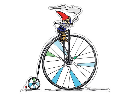 Gnome Sticker- Gnome Penny Farthing Decal- Smoking Gnome - Penny - Bike - Car St