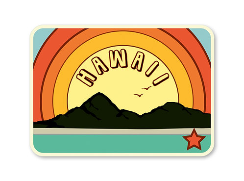 Hawaii Rainbow Sticker- Vintage Beach Decal- Beach Sticker- Hawaii Art -