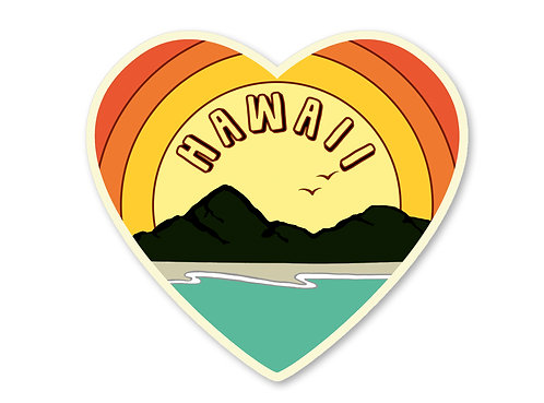 Hawaii Love Sticker- Vintage Beach Decal- Beach Sticker- Hawaii Art - Ha
