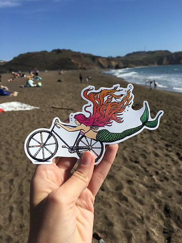Mermaid Sticker- Mermaid Decal- Bike Sticker- Bike Art - mermaid - Vinyl Sticker