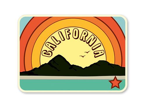 California Vintage Rainbow Sticker