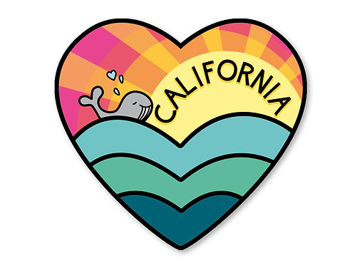 California Love Sticker- Beach Whale Decal- Beach Sticker- California Art - cali