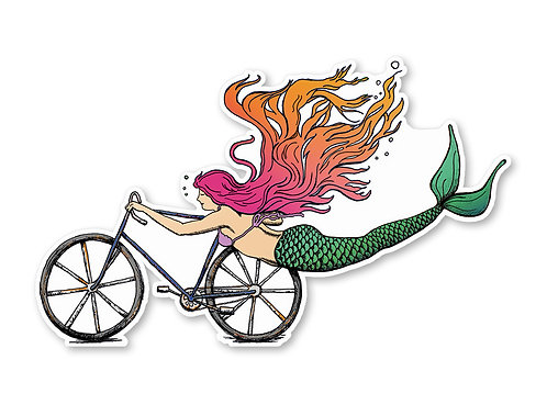 Mermaid Sticker- Mermaid Decal- Bike Sticker- Bike Art - mermaid - Vinyl