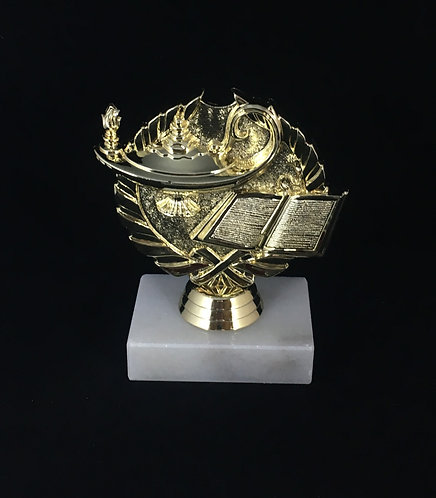 Lamp/Book Wreath Gold Figure Trophy