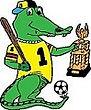 Bayouland Trophies logo:  alligator holding a trophy