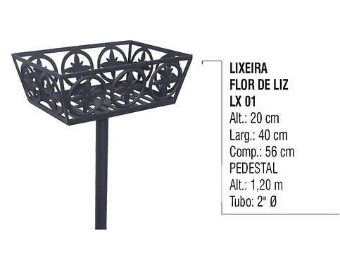 Lixeira Flor De Liz Alumínio Fundido Com Pedestal