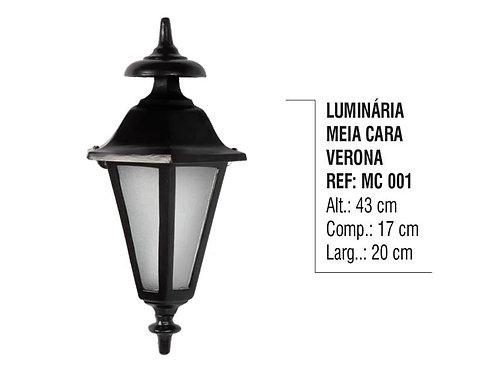 Luminária Colonial Meia Cara Verona em Alumínio e Vidro