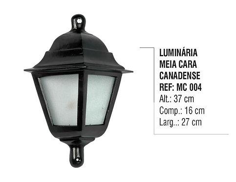 Luminária Colonial Meia Cara Canadense em Alumínio e Vidro MC 004