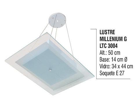 Lustre Contemporâneo de Teto Prisma G Alumínio e Vidro - LTC3007
