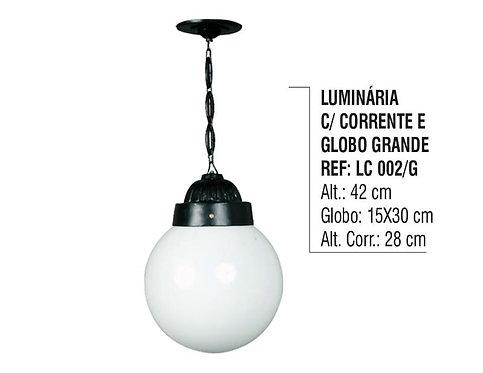 Luminária Externa Interna Globo Grande com Corrente Alumínio