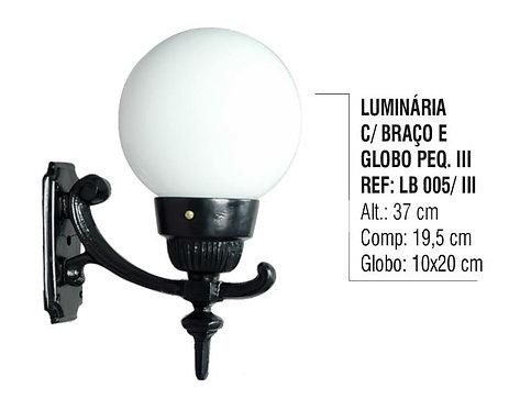 Luminária Globo Pequena 3 com Braço Externa/interna Alumínio 37cm