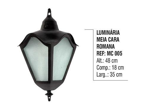 Luminária Colonial Meia Cara Romana em Alumínio e Vidro MC 005