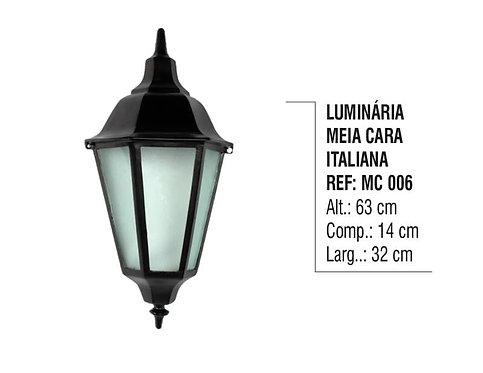 Luminária Colonial Meia Cara Italiana em Alumínio e Vidro MC 006