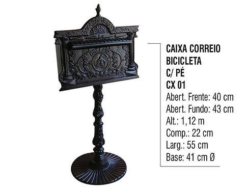 Caixa de Correio Colonial Bicicleta com Pé Alumínio Fundido