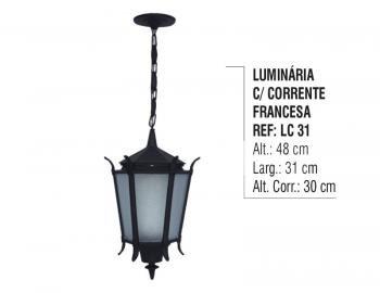 Luminária Externa Interna Francesa com Corrente em Alumínio